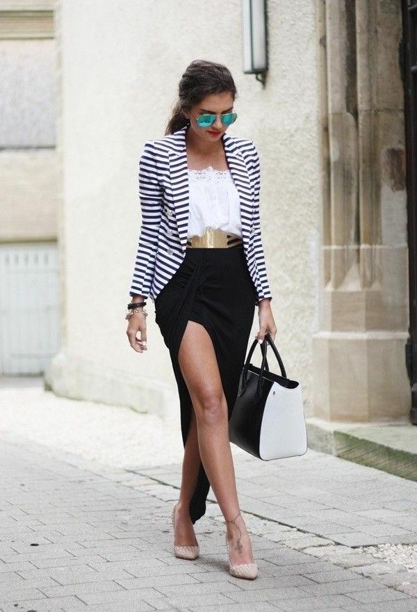 jupe-portefeuille-veste-à-rayures-et-grande-ceinture