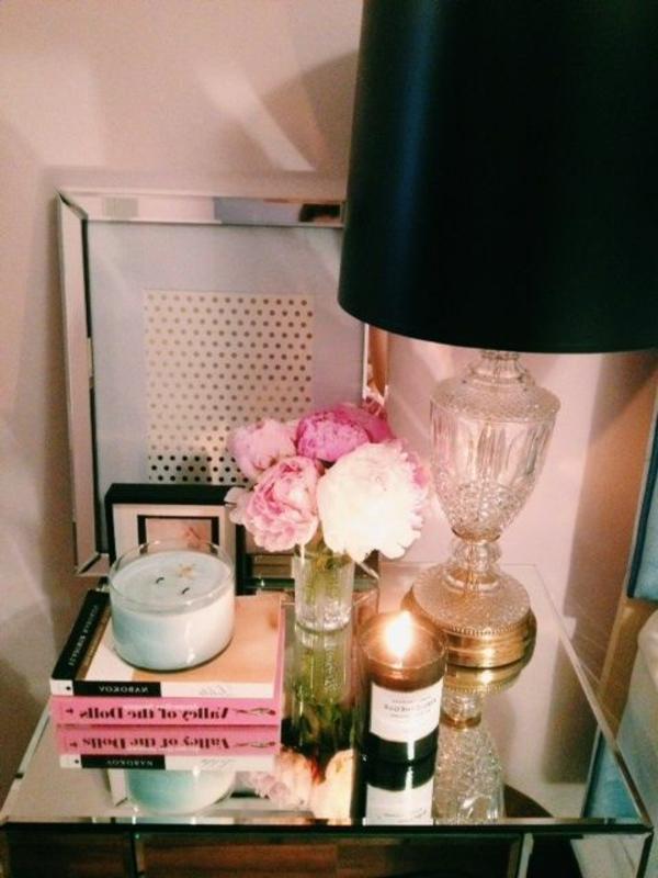 lampe-de-chevet-noir-en-verre-chambre-à-coucher-fleurs