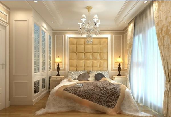 lustre-en-cristal-chambre-à-coucher-beige