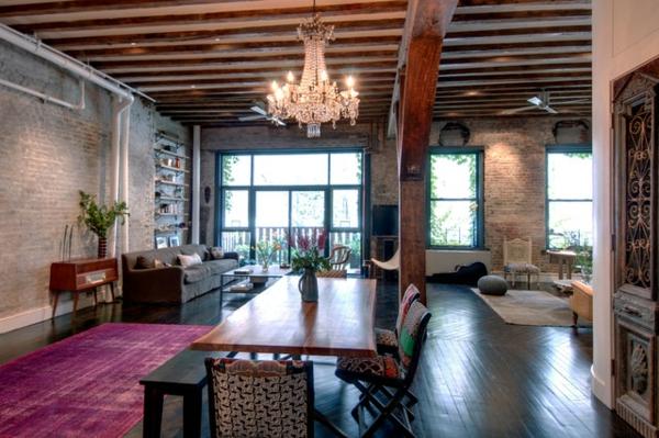 lustre-en-cristal-salle-à-manger-loft