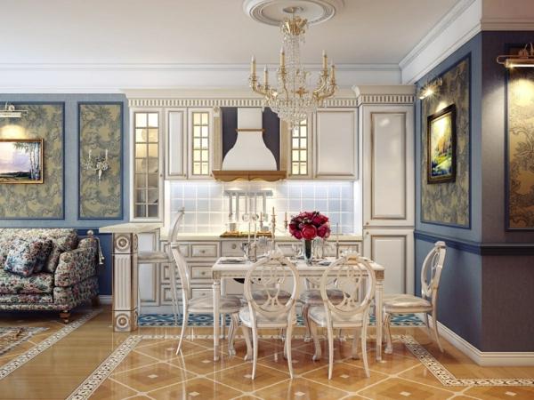 lustre-en-cristal-salle-de-déjeuner-rétro-avec-chandelier-cristal