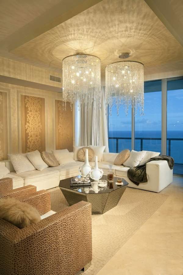 lustre-en-cristal-salle-de-séjour-modernes-idées-de-décoration
