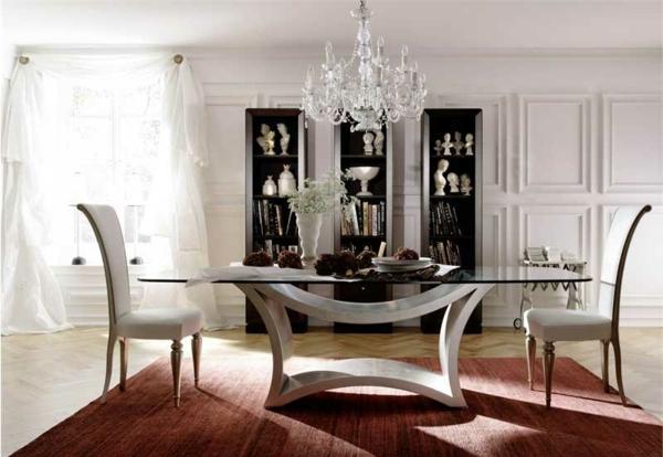 lustre-en-cristal-table-à-plateau-en-verre
