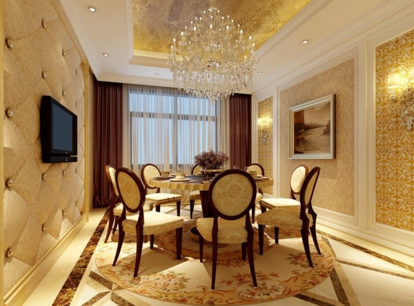 lustre-en-cristal-tapis-rond-et-table-ronde