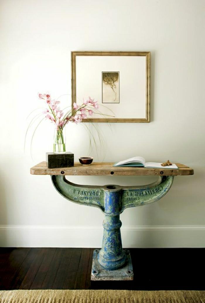 meuble-d-entrée-en-bois-d-appoint-peinture-murale-fleur-décoration-mur-blanc