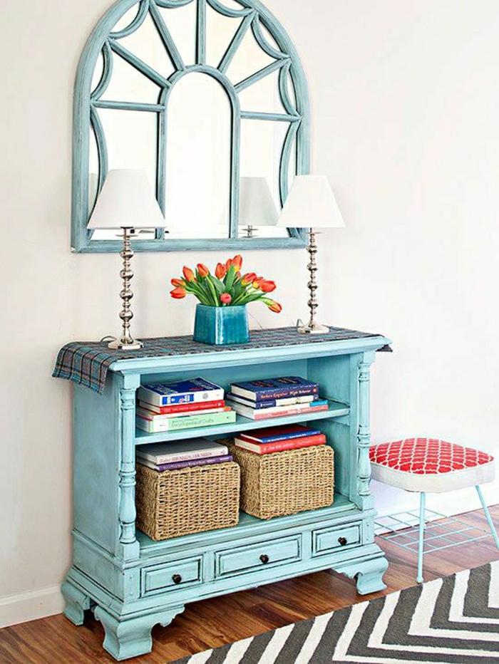 meuble-d-entrée-en-bois-fleurs-lampe-banche-décorative-miroir