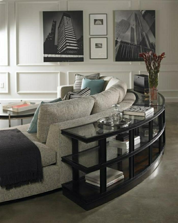 meubles-d-appoint-salon-élégant-sol-en-lin-gris-canapé-gris-peintures-murales