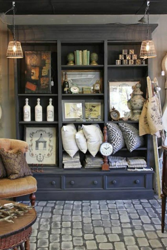 meubles-d-appoint-sol-en-lin-immitant-carrelage-meuble-en-bois-gris