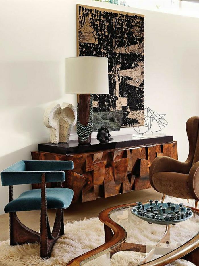 meubles-d-appoint-sol-en-lin-tapis-blanc-lampe-décorative-peinture-murale-chaise