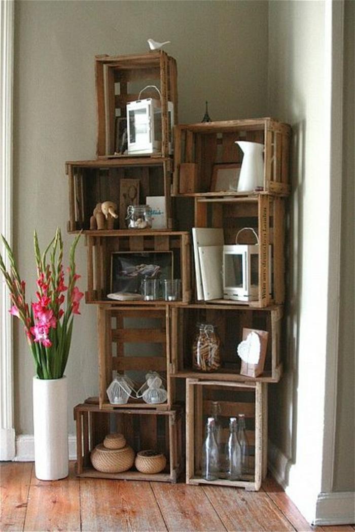 meubles-de-rangement-design-cubes-en-bois-idée-originale-déco-fleurs