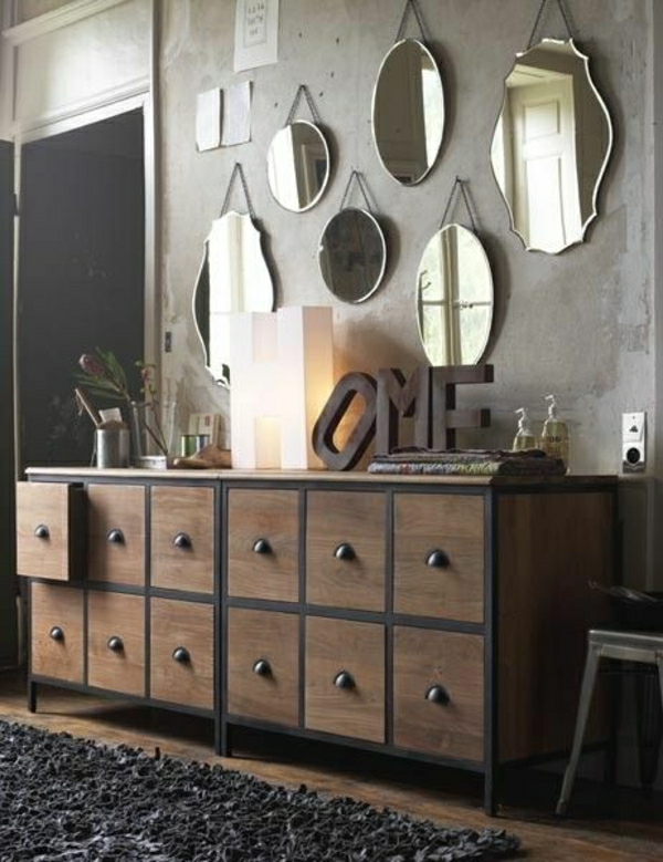 meubles-industriels-commode-en-bois-miroires-décoratifs-meubles