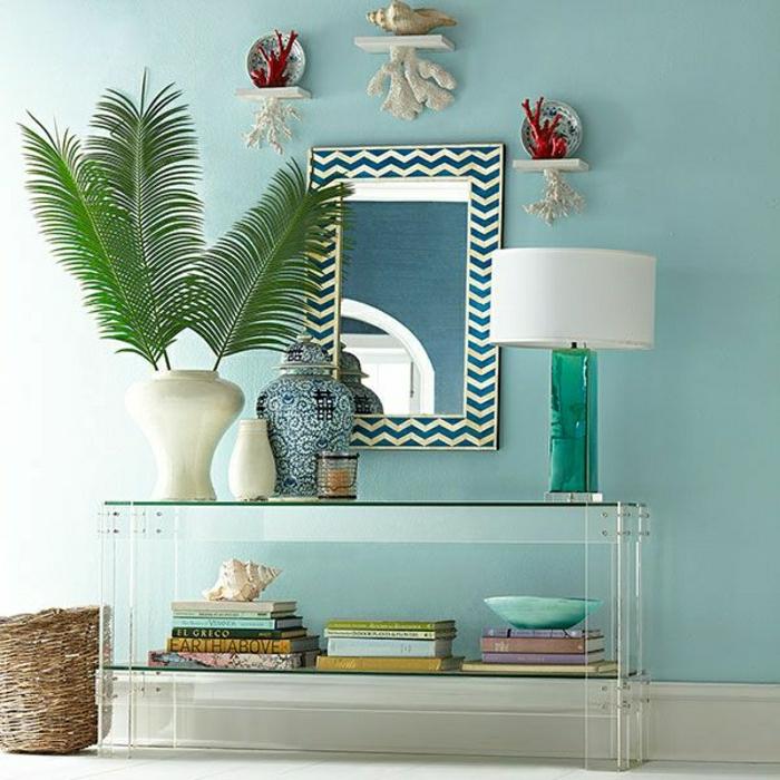 meubles-rétro-commode-en-bois-d-entrée-noire-murs-bleus-miroir-plante