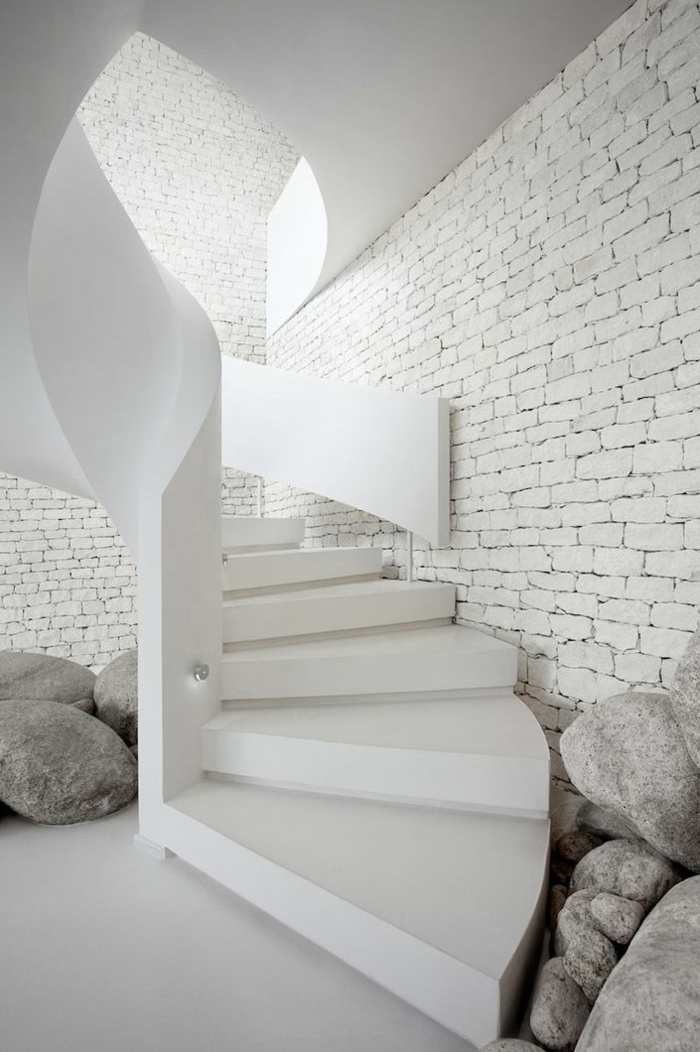 Le mur en brique d cors spectaculaires - Brique blanche interieur ...