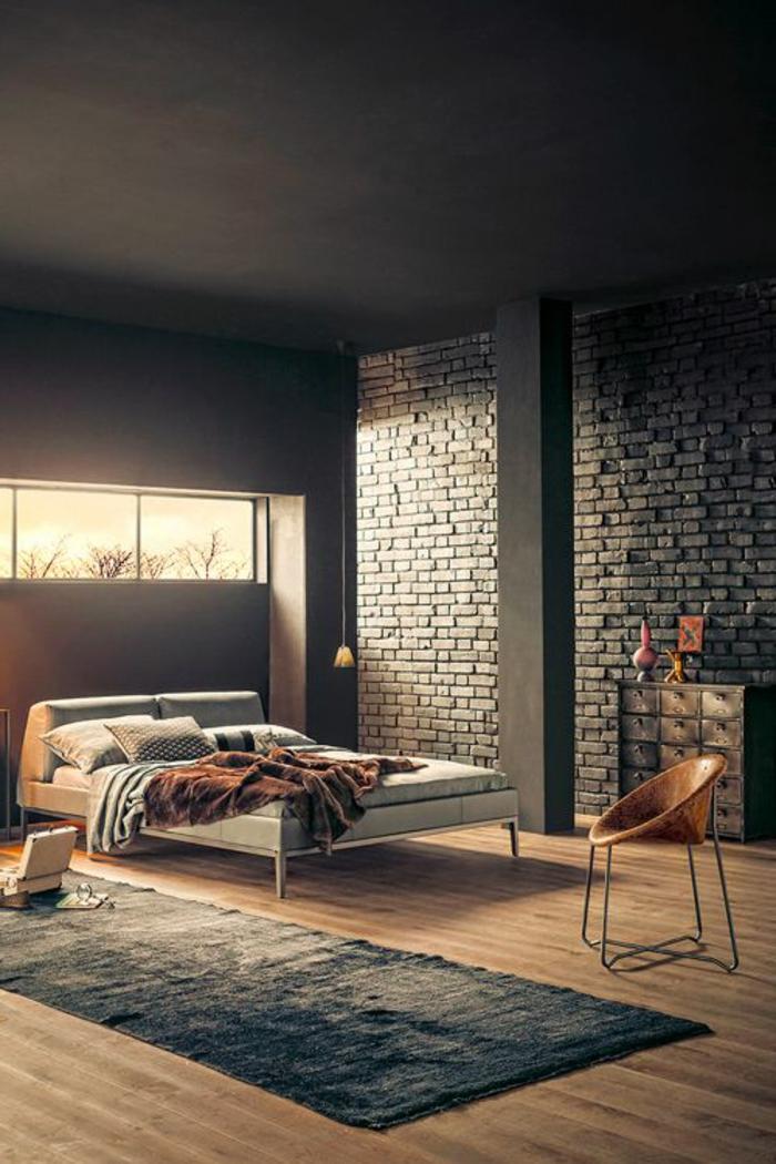 Le mur en brique d cors spectaculaires for Chambre mur rouge et noir