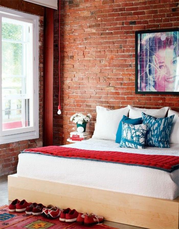 mur-en-brique-chambre-à-coucher