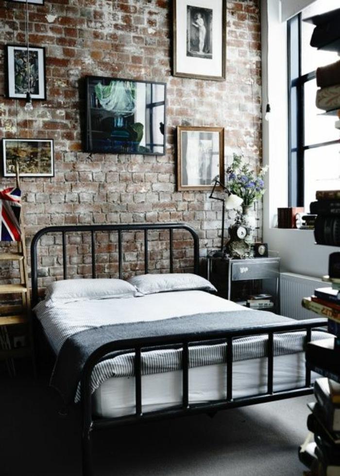 mur-en-brique-chambre-à-couchr-artistique