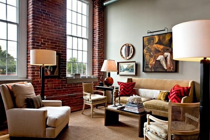 mur-en-brique-combination-de-peinture-grise-et-de-revêtement-briques