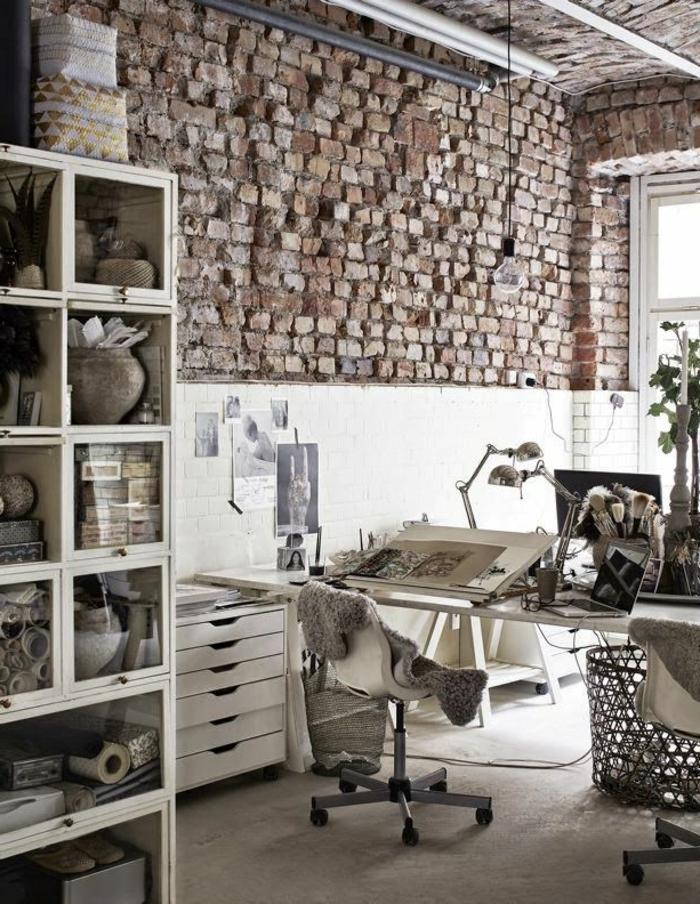 mur-en-brique-office-stupéfiant-déco-loft