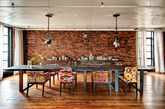 mur-en-brique-salle-de-déjeuner-déco-loft
