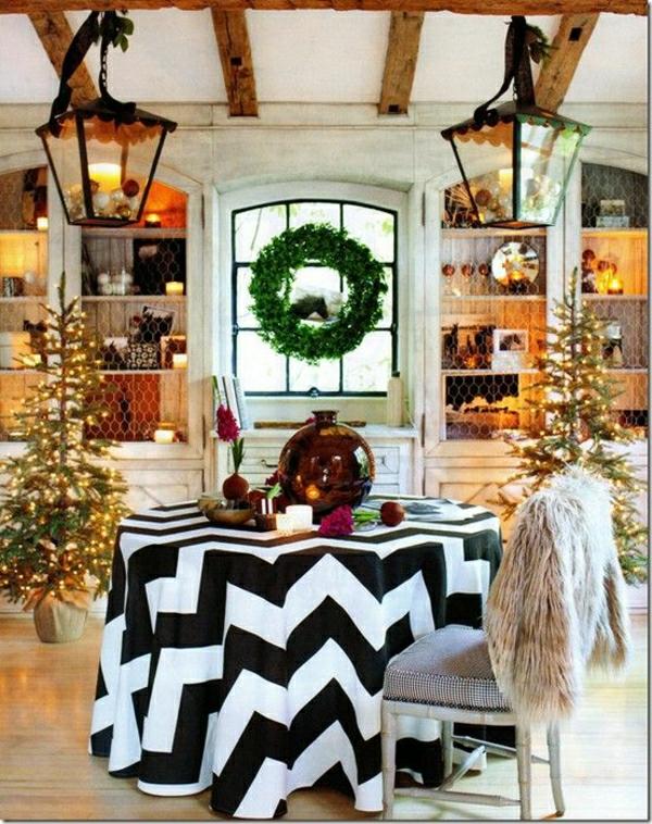 nappe-blanche-noire-set-de-table-noel-décoration-de-table-salle-de-séjour