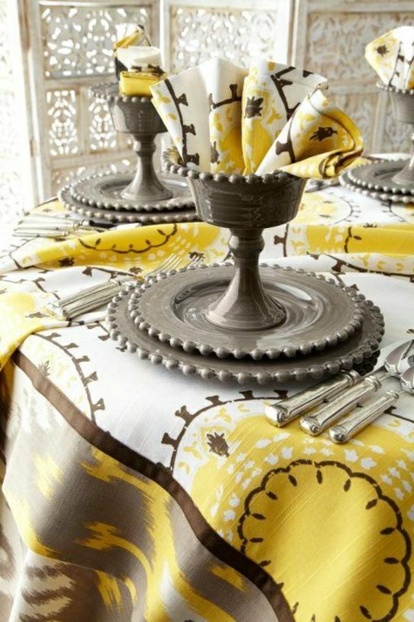 nappe-de-table-coloré-blanc-jaune-gris-set-de-table-élégant-occasion