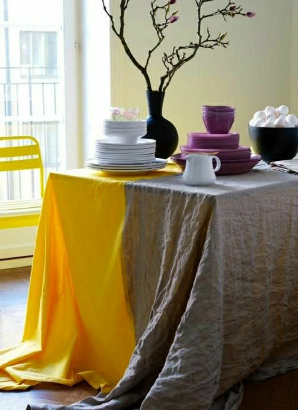 nappe-de-table-jaune-gris-en-lin-décoration-de-table-nappe-longue