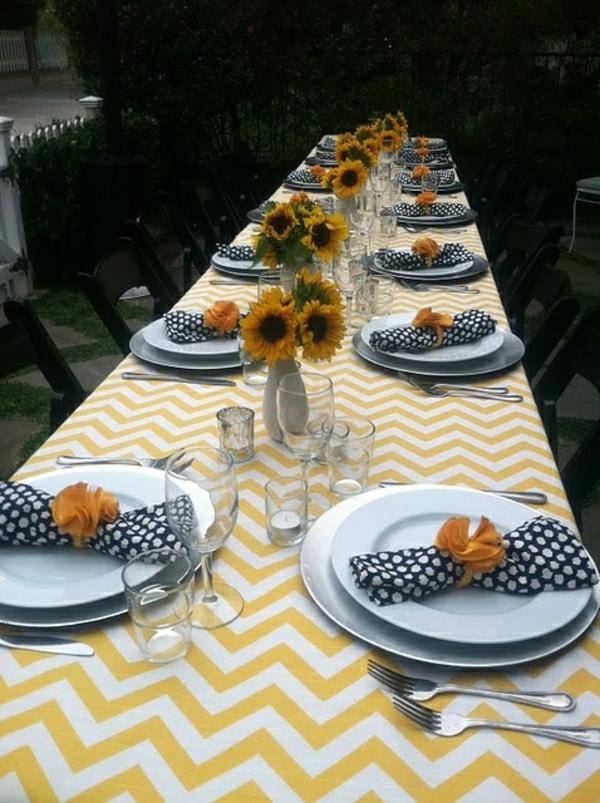 nappe-jaune-blanche-set-de-table-élégant-serviette-de-table-aux-points-blancs-tournesols