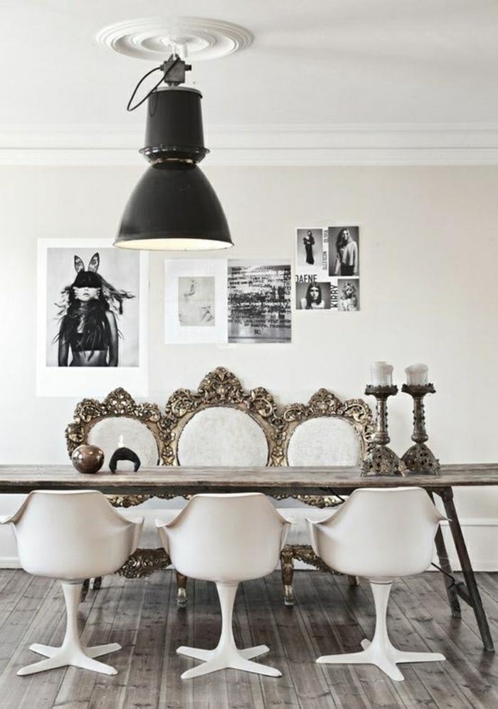 peintures-murales-deco-blanc-noir-chaises-plastiques-deco-moderne