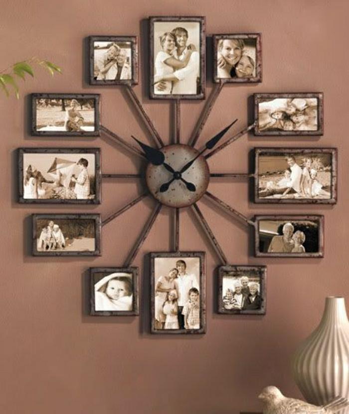 pendule-murale-design-idée-mur-marron-photos-famille-toute-la-famille