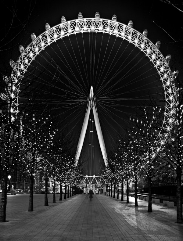 photo-la-nature-et-la-cite-de-Londre-Paris-carousselle-noir-et-blanc-nuit-photographie-lumieres