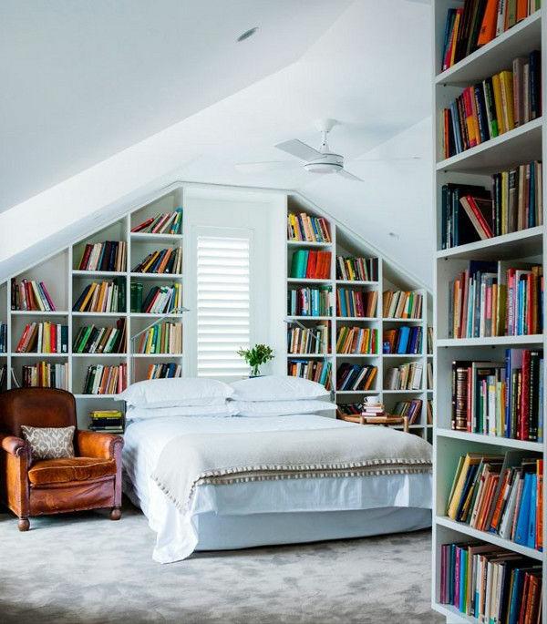 placard-avec-livres-sous-pente
