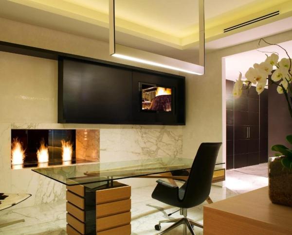 plateau-de-bureau-en-verre-cheminée-contemporaine