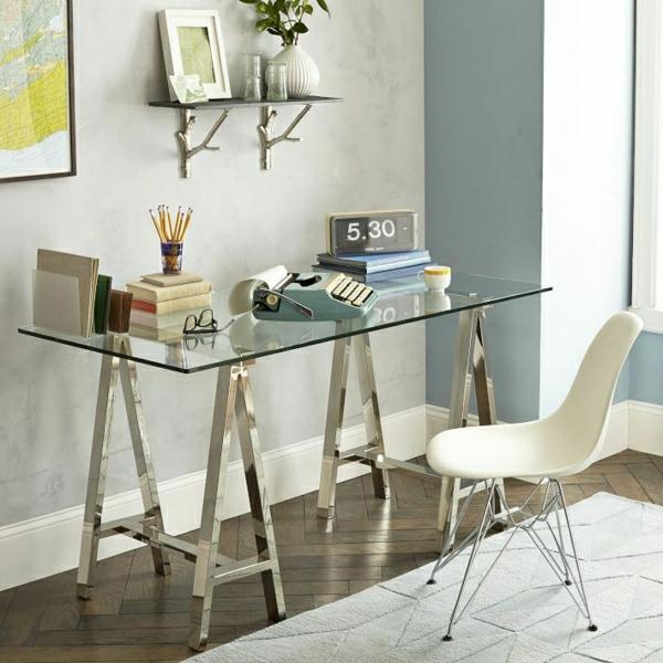 Le plateau de bureau en verre pour votre office la maison for Meuble bureau verre acier