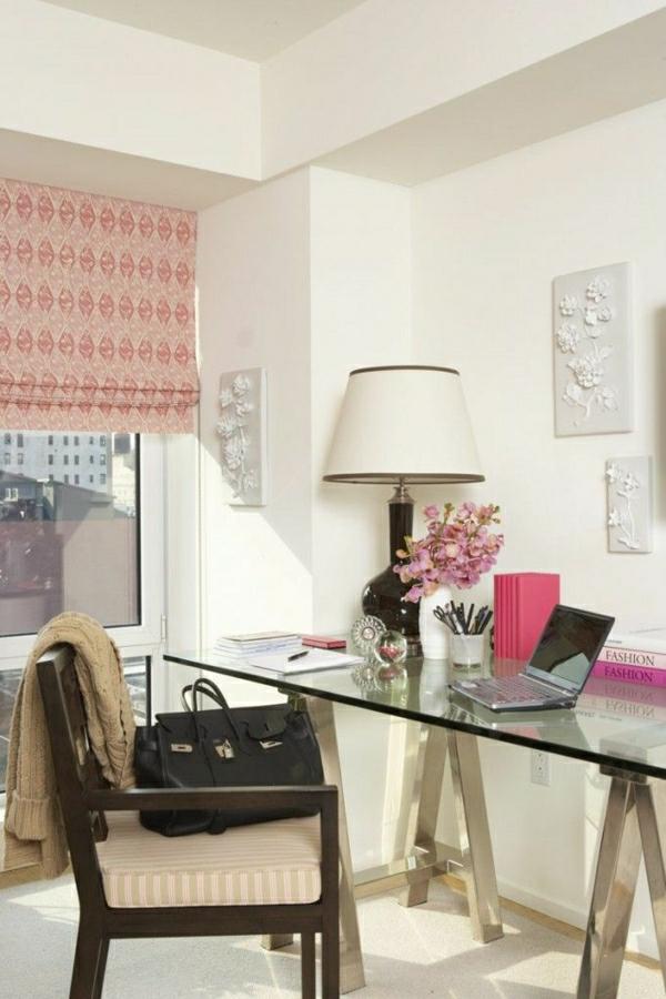 plateau-de-bureau-en-verre-lampe-de-table-à-abat-jour
