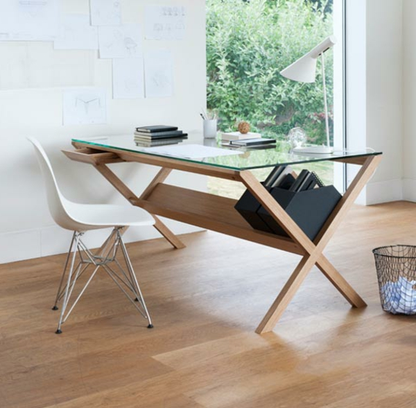 Le plateau de bureau en verre pour votre office la maison - Bureau en verre pas cher ...