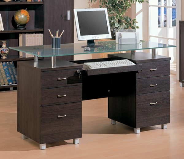 le plateau de bureau en verre pour votre office la. Black Bedroom Furniture Sets. Home Design Ideas