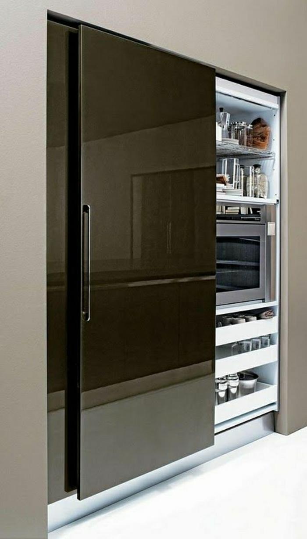 porte-élégante-placard-cuisine-moderne-porte-noir-idée-créative