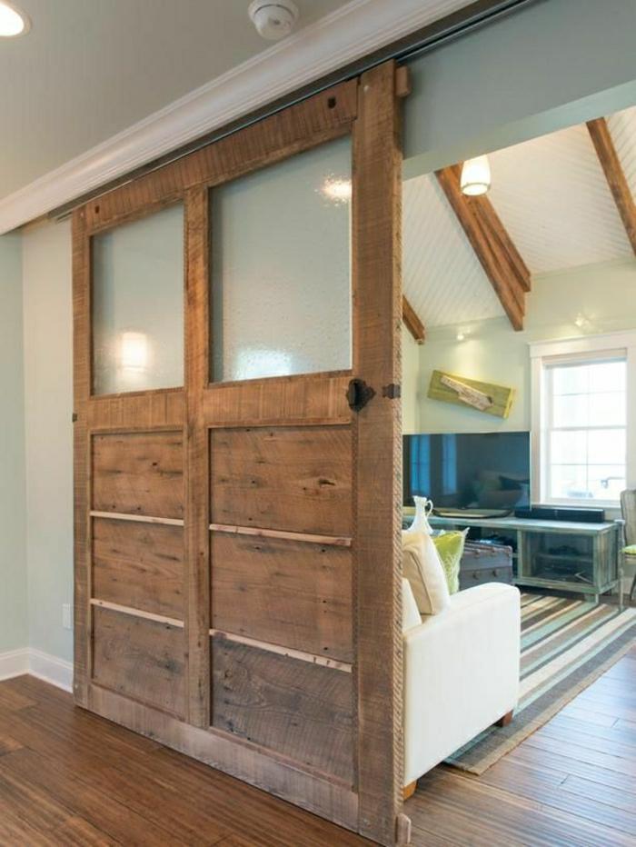 porte-coulissante-en-bois-intérieur-moderne-parquet-porte-en-bois-salon-cocooning