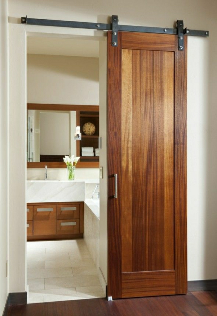 La porte coulissante en 43 variantes magnifiques for Bathroom door ideas for small spaces