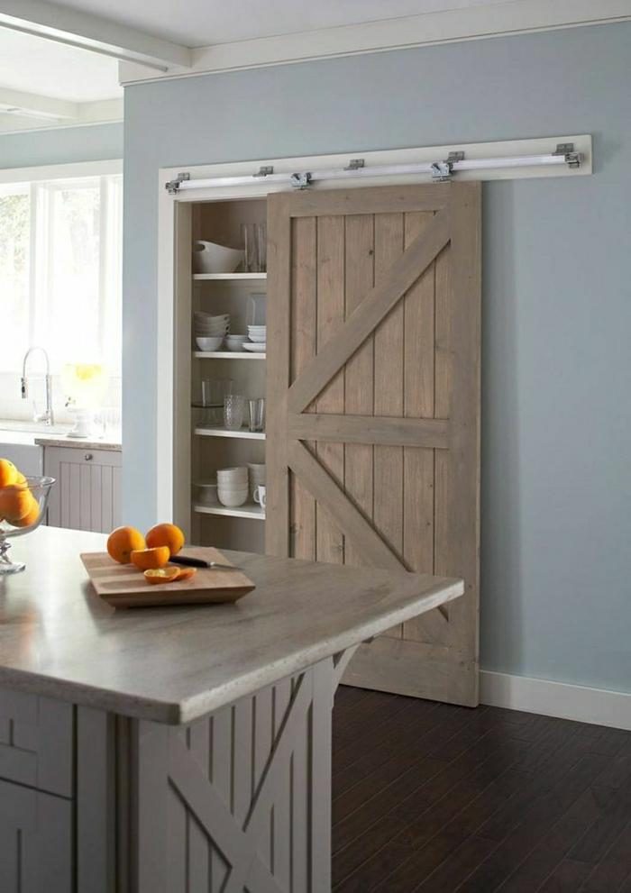 La porte coulissante en 43 variantes magnifiques for Porte bois cuisine