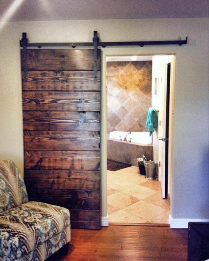 Porte coulissante bois pour salle de bain for Porte en bois pour salle de bain