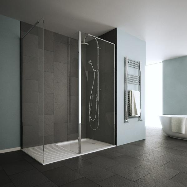 Le receveur de douche extra plat l gance pour la salle for Photos de salle de bain avec douche