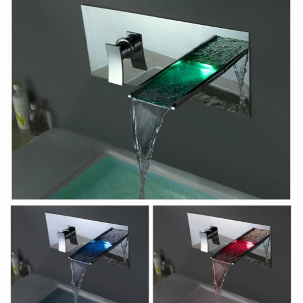 robinet cascade led interesting color changing led waterfall bathroom sink faucet taps chrome. Black Bedroom Furniture Sets. Home Design Ideas