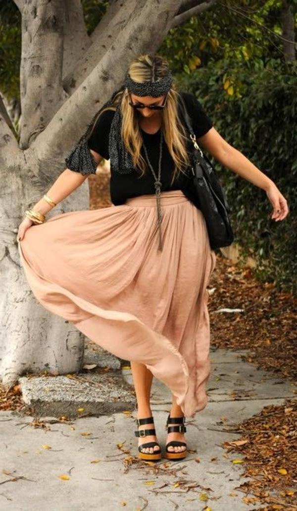 sadales-chaussures-compensés-platformes-jupe-longue-beige-style-boheme