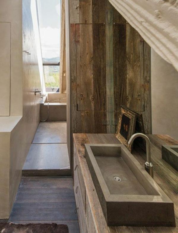 salle de bain rustique bois id es de design maison et. Black Bedroom Furniture Sets. Home Design Ideas