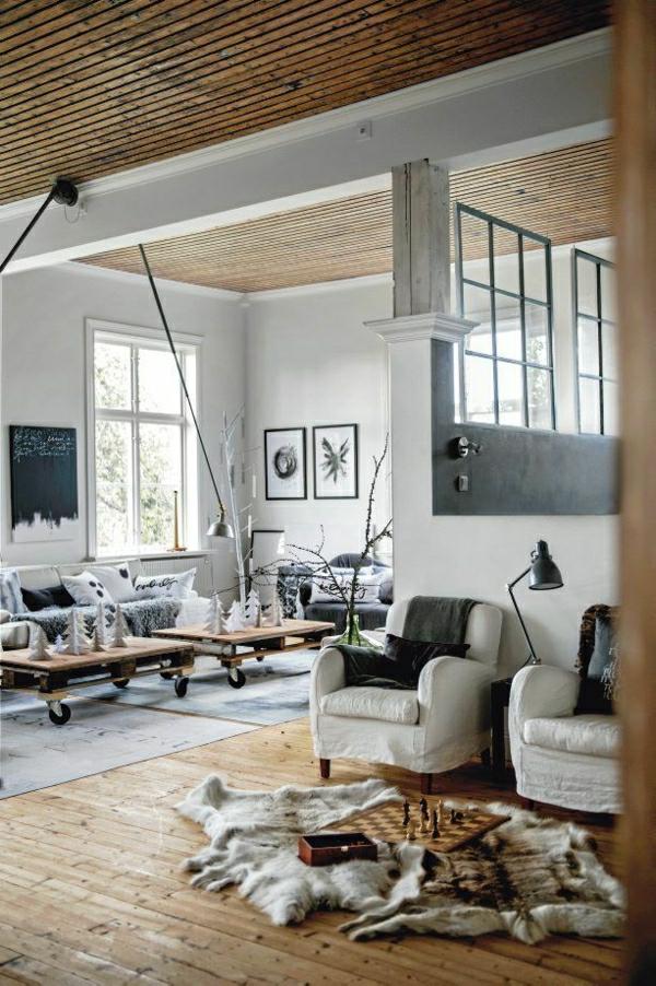 salon-confortable-aménagement-industriel-décoration-murale-peintures-murales-blanc-noir