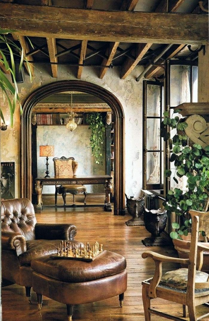 salon-cuir-canapé-en-cuir-marron-plantes-vertes-planchers-sol-parquet-ancien