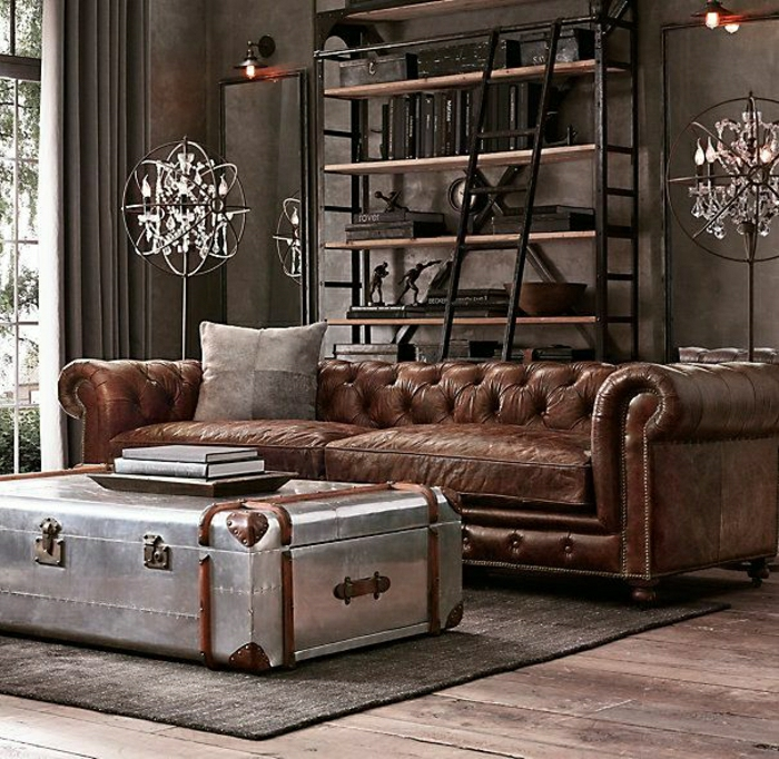salon-cuir-marron-foncé-table-valise-moderne-solution-mur-marron-étagère-en-fer