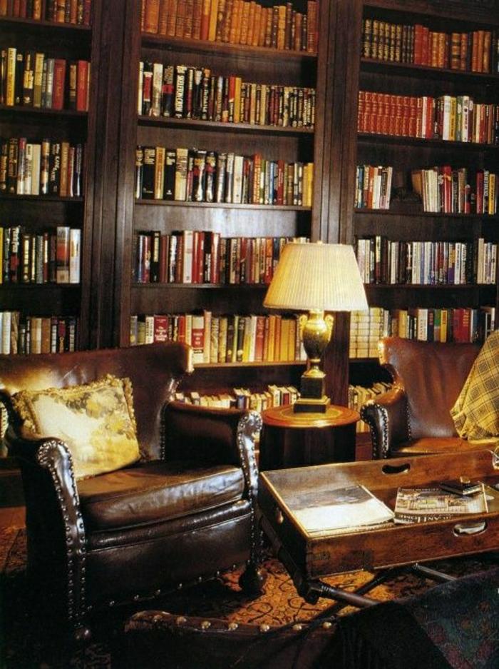 salon-fauteuil-en-cuir-marron-foncé-bibliothèque-en-bois-marron-foncé-livres