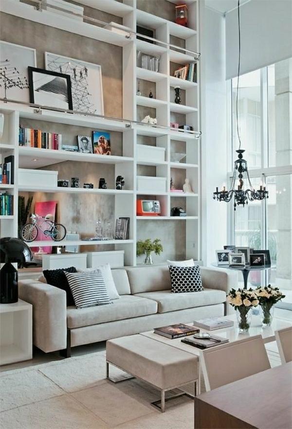 salon-idée-bibliothèque-moderne